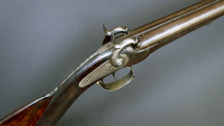 sold - DOUBLE BARREL FRENCH SPORTING GUN SIGNED  'TUSSON A CLERMONT' - sold