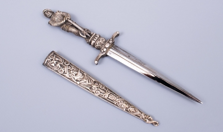 SOLD - ROMANTIC FIGURAL DAGGER PROBABLY SPANISH - LATE 19TH CENTURY - SOLD