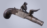 FINE FRENCH 18TH CENTURY POCKET PISTOL SIGNED DELETY A PARIS RUE COQUILLIERE