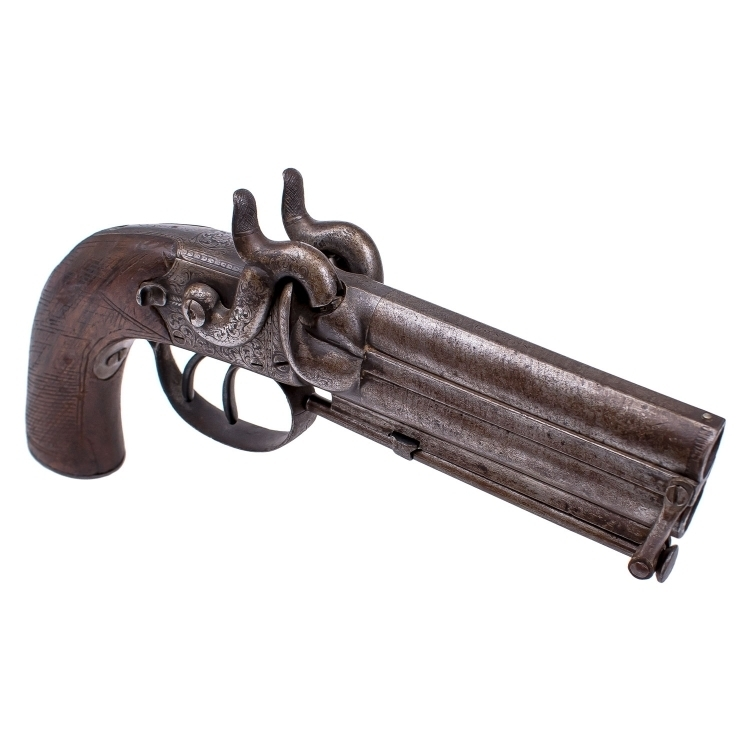 OVER & UNDER HOWDAH OR OFFICERS PISTOL SIGNED SMITH LONDON